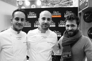 S. Torres et T. Pasquereau (Ferrandi Bordeaux) accompagnés du Chef Julien Duboué (A Noste, Boulom, Corn'r à Paris)